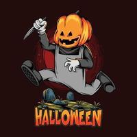 zumbi cabeça de abóbora de halloween correndo sobre o túmulo vetor