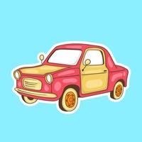 adesivos coloridos desenhados à mão de carros clássicos vetor