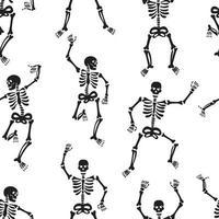 padrão com esqueletos pretos, dançando vigorosamente e se divertindo vetor