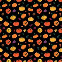 folhas de outono coloridas e abóboras. ilustração vetorial vetor