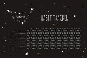 modelo de rastreador de hábitos com sinal de carpricórnio vetor