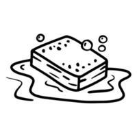 ícone linear de esponja para lavar pratos com espuma e bolhas vetor
