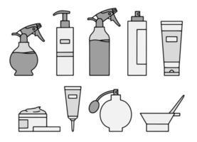 cosméticos e sprays de cabelo para estilizar ícones vetoriais vetor