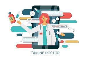 bate-papo na internet em smartphone com uma médica vetor