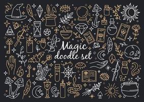 um conjunto mágico e feiticeiro de ícones de estilo doodle vetor