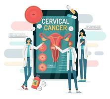 câncer cervical em um smartphone com médicos vetor