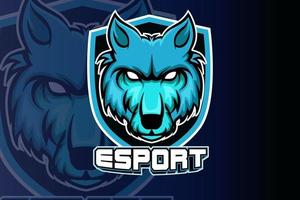 Logotipo do mascote dos lobos irritados para esportes e esportes eletrônicos isolado vetor