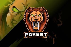 Modelo de logotipo do time de e-sports de cabeça de leão furioso vetor