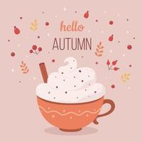 Olá outono. xícara de café com creme e canela. bebida quente de outono vetor