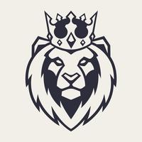 Leão na mascote de vetor de coroa