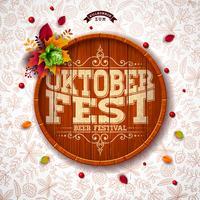 Ilustração de Oktoberfest com tipografia no barril de cerveja.