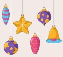 brinquedos para árvores de Natal brilhantes em várias formas e cores. vetor