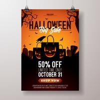 Ilustração de panfleto de vetor de venda de Halloween