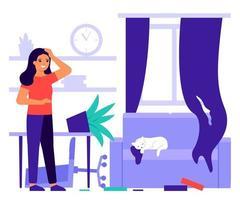 mulher surpresa com a bagunça na sala de estar em casa de brincar de gato. casa do caos vetor