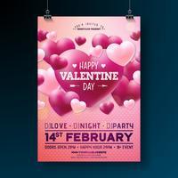 Flyer de festa de dia dos namorados de vetor