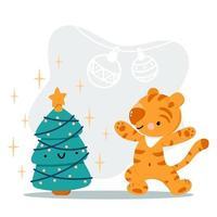 tigre bonito dos desenhos animados com árvore de natal vetor