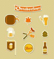 Ícones de Oktoberfest cerveja cervejaria definida. vetor