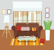 Interior de uma sala de estar.