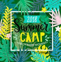 Acampamento de verão 2018 na selva. vetor