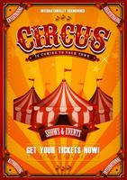 Cartaz de circo vintage com grande parte superior
