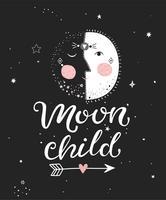 Cartaz de criança de lua. vetor