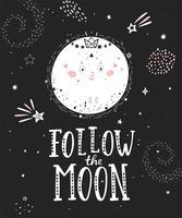Siga o cartaz da lua com lua cheia. vetor
