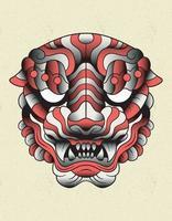 celebração da máscara do tigre vetor