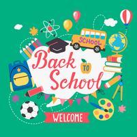 Banner bem-vindo de volta à escola.