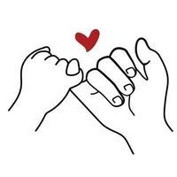 promessa contorno vetor com ícone de sinal de coração vermelho