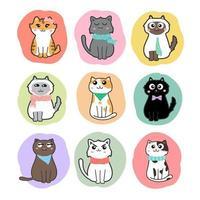 vetor de conjunto de desenho de gatos fofos