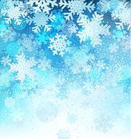 Fundo azul brilhante com flocos de neve. vetor