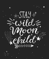 Fique cartaz de criança lua selvagem. vetor