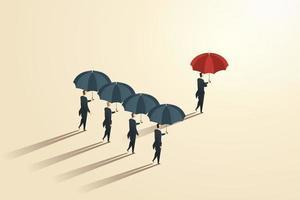 homens de negócios de conceito diferente segurando guarda-chuvas vermelhos se destacam. vetor