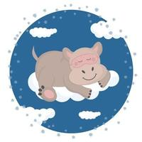 hipopótamo em uma máscara para dormir em uma nuvem. vetor