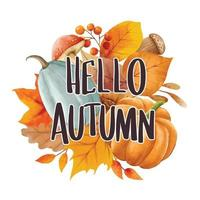 Olá outono com ornamentado de folhas de fundo de flor. outono outubro vetor