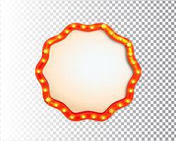 Quadro de círculo de luz bulbo retrô isolado a brilhar