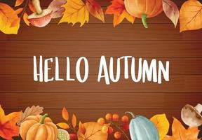 Olá outono com ornamentado de quadro de flores de folhas. outono outubro vetor