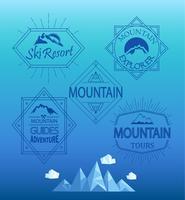 Logotipos de montanha de vetor e emblemas.