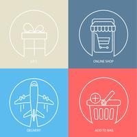 Contorno e-commerce web conjunto de ícones. vetor