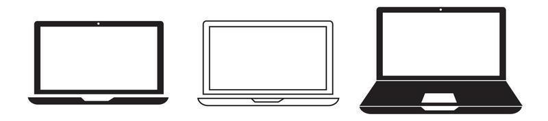 ícones de laptops de diferentes tipos vetor