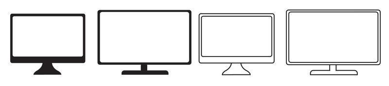 Monitor de computador simulado com vista lateral em perspectiva isolada vetor