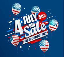 Banner de grande venda com balões para o dia da independência vetor