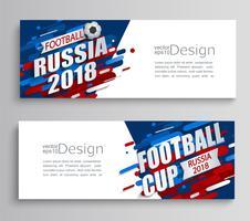 Jogo de dois cartões modernos de um copo de futebol 2018.