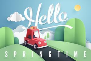 Arte de papel da floresta de carro vermelho e montanha com letras Olá Primavera vetor