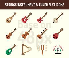 Conjunto de ícones de instrumento de cordas. Base plana ícones em 48 pixels com pixel perfeito vetor