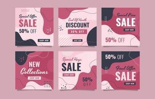 vendas e ofertas especiais de postagens em mídias sociais vetor