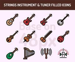 Conjunto de ícones de instrumento de cordas. Contorno preenchido ícones base em 48 pixels com pixel perfeito vetor