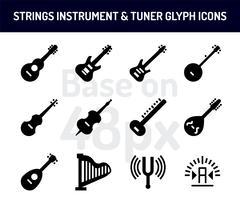Conjunto de ícones de instrumento de cordas. Ícones sólidos baseiam-se em 48 pixels com pixel perfeito vetor