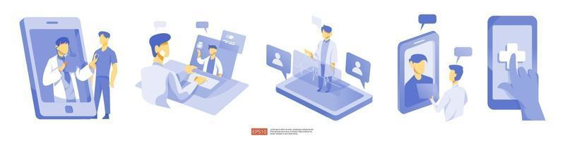 Ligue e converse o conceito de suporte médico. serviço de saúde online vetor