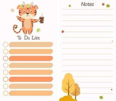 planejador organizador com tigre com folhas de outono. lista de tarefas e notas vetor